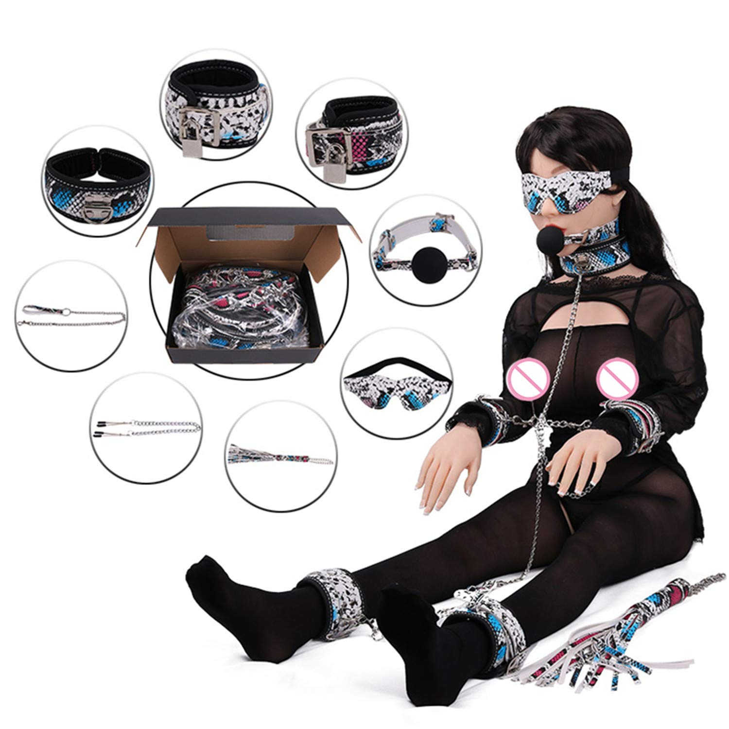 Adult Game 8 Pcs Set Handcuffs Gag Whip Collar Erotic Toy Pu Leather Fetish Sex Bondage Restraint Sex Toy for Couple Sex Product