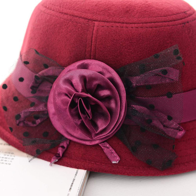 Mageed Anna Retro Solid Trendy Ladie Women Beach Woolen Felt Bowler Derby Fedora Hats Caps