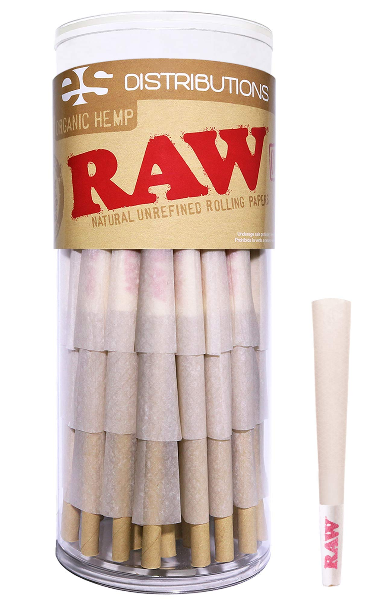 RAW Cones Organic 1 1/4 Size | 75 Pack | Pure Hemp Pre Rolled Rolling Paper with Tips Included by RAW, ESD