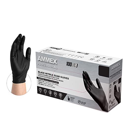 Amazon Com Ammex Black Nitrile Exam Gloves Box Of 100 3 Mil Size X Large Latex Free Powder Free Textured Disposable Non Sterile Food Safe Abnpf48100 Bx Industrial Scientific