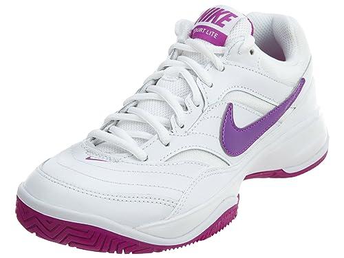 brand new 4d7c7 fabcd Nike Women s Court Lite Tennis Shoe, White Vivid Purple White, ...