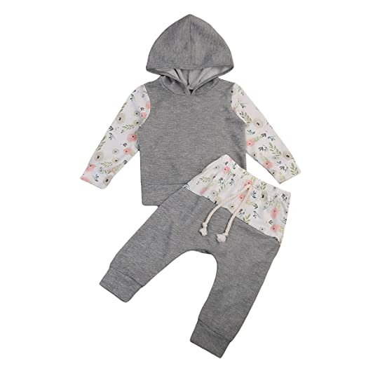 aa7fb0f865e7 Amazon.com: Baby Girls Floral Hooded T-shirt Top + Pants Outfits Set 2pcs Kids  Clothes: Clothing