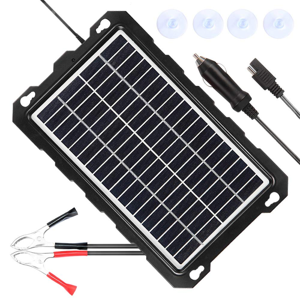POWISER 7.5W Solar Battery Charger 12V Solar Powered Battery maintainer & Charger,Suitable for Automotive, Motorcycle, Boat, Marine, RV, Trailer, Powersports, Snowmobile, etc. (7.5W Poly) by POWISER