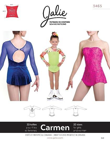 Amazon.com: Jalie Carmen Seamless Sleeve Skating Dress Skirt Costume ...