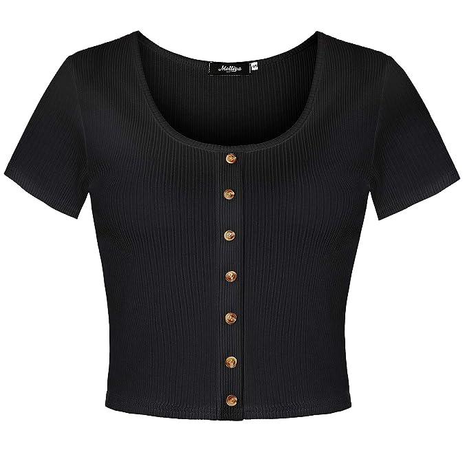 de35671468b51 Molliya Women's Summer Short Sleeve Crop Top Button Down Basic Casual  T-Shirts Black
