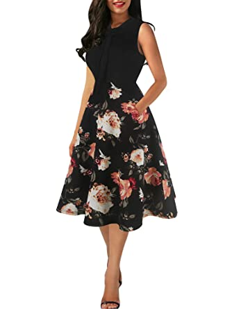 f87a0076cd2a9 oxiuly Women's Vintage Bow Tie V-Neck Pockets Casual Work Party Cocktail  Swing A-line Dresses OX278