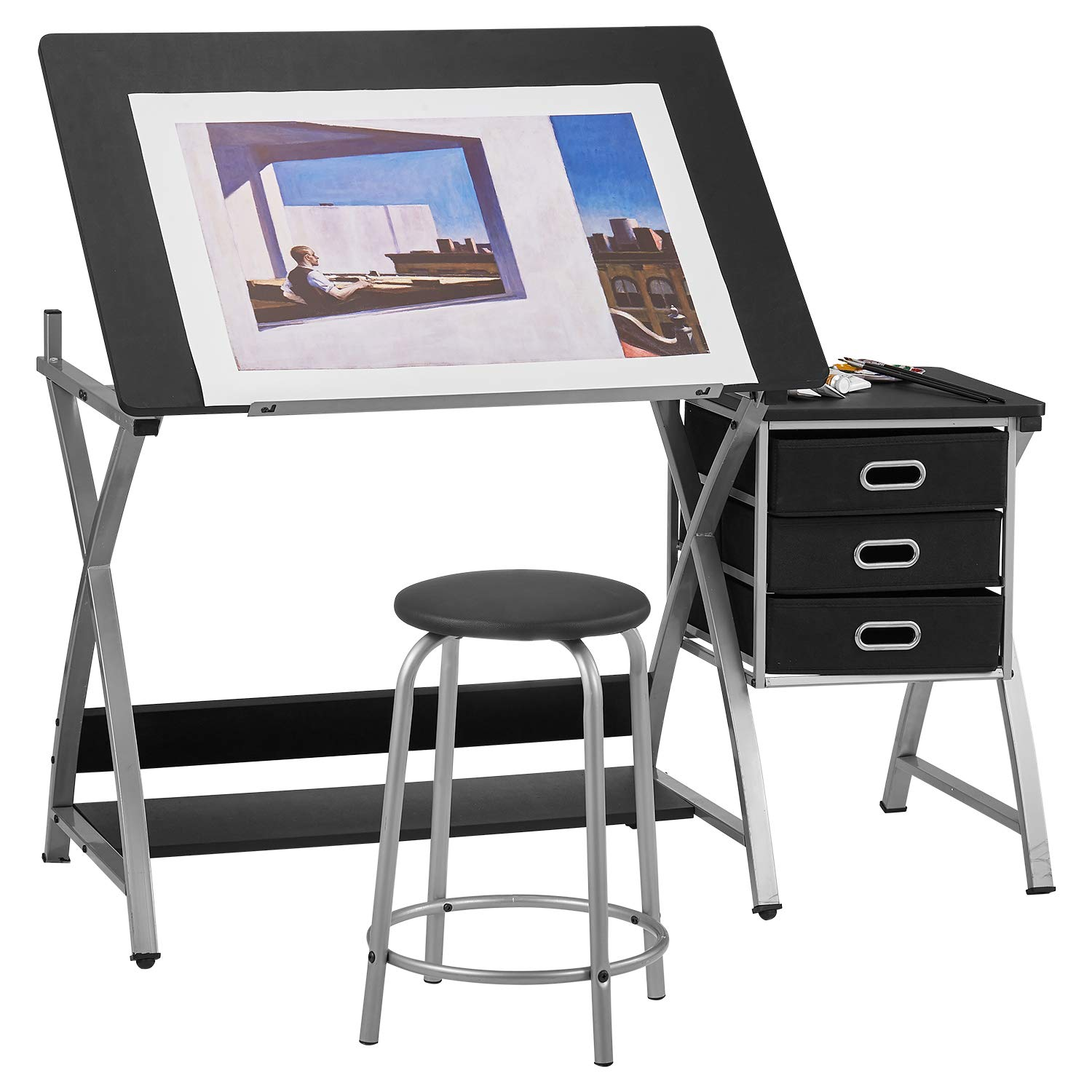 Kealive Drafting Table, Drawing Craft Art Table Craft Station with Angle Adjustable Top Stool and Storage Drawers, 50×23.6×29.9 inches by kealive