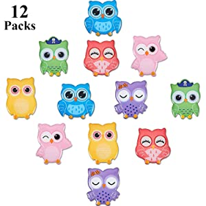12 Pieces Owl Magnet Cartoon Cute Owl Refrigerator Magnets 3D Locker Fridge Magnet for Kitchen Office Whiteboard Decoration Christmas Gift