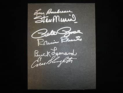 rose roberts leonard slaughter musial boudreau autographed 810
