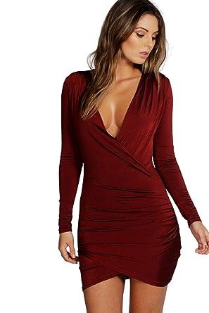 2657ed260a7 YourPrimeOutlet Femmes Baie eli robe moulante manches longues près du corps drapée  devant - 10