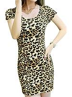 Joeoy Women's Casual Leopard Print Long Sleeve Dress
