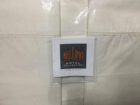 NEW Bellino Italy 4 PC Cotton Percale Sheet Set Hemstitch Queen White