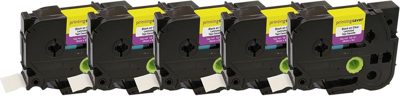 3x Schriftband kompatibel zu Brother TZ-141 TZe-141 P-Touch Schwarz Transparent