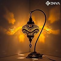Turkse mozaïek tafellamp, prachtige Marokkaanse stijl, unieke Globe lampenkap, Swan Neck Series (bruine sterren)