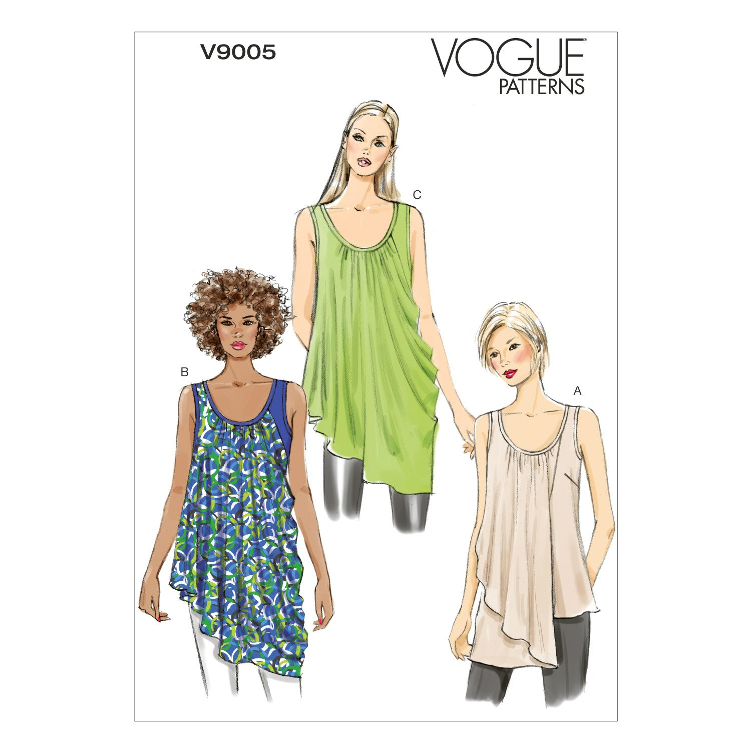 Vogue Patterns V9005 Misses' Top Sewing Template, Size Y (XSM-SML-MED) by Vogue Patterns   B00JQARMVU