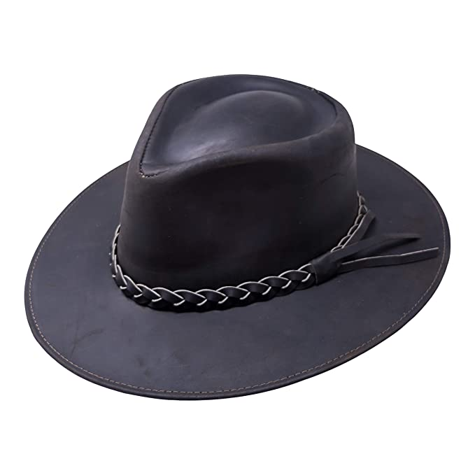 649c946456f266 B&S Premium Leather Fedora - Wide Brim Hat Leather - Water Resistant -  Espresso (Size