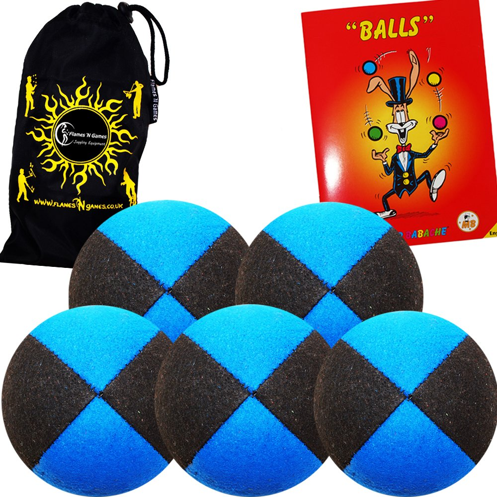 5x Pro Thud Juggling Balls - Deluxe (SUEDE) Professional Juggling Ball Set of 5 with Mister Babache Ball Juggling Book of tricks, and a Fabric Travel Bag! (Black/Blue)