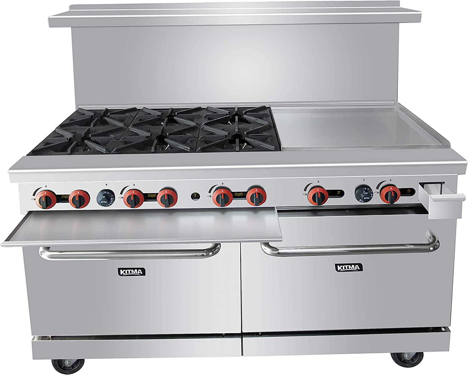 Liquefied Propane Commercial Range 6 Burners with 24 Inches Griddle and 2 Ovens-KITMA 60 Inches Heavy Duty Gas Range Cooking Performance Group for Restaurant