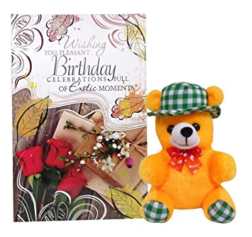 Buy Saugat Traders Happy Birthday Greeting Card With Soft Toy Cap Teddy Baby Online At Low Prices In India