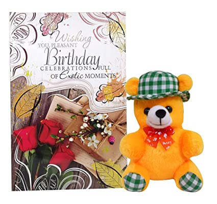 Saugat Traders Happy Birthday Greeting Card With Soft Toy Cap Teddy Baby