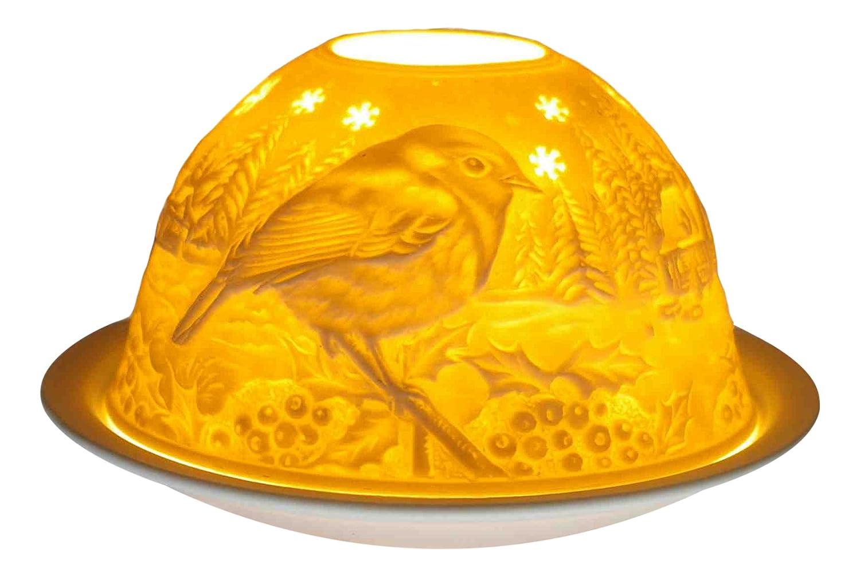 Him Dom Light Birds in Wintertime Portacandela Antivento, Ceramica, Bianco, 11x11x9 cm DL0063