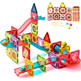 ZAYOR Magnetic Tiles Blocks for Kids 3D with Clear Color Educational Toys Magnetic Marble Run Magnetic Building Blocks Stem T