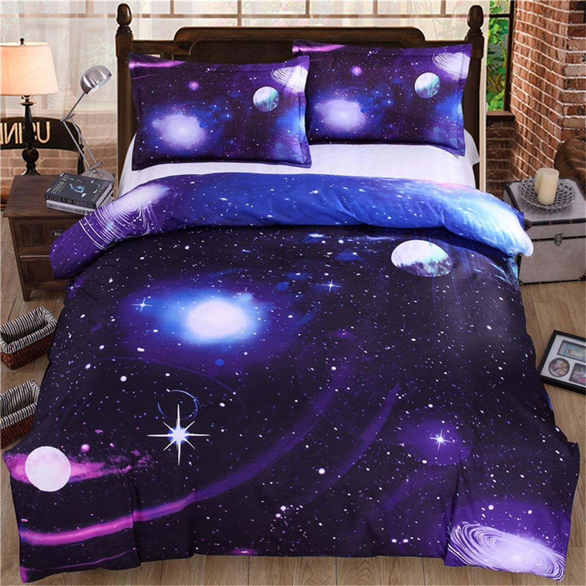 200cm 3D Galaxy Bedding Duvet Cover Set Single Reversible Purple Star Milky Way Microfiber Bedding Quilt Cover with Zipper Ties for Kids Teens Girls 135
