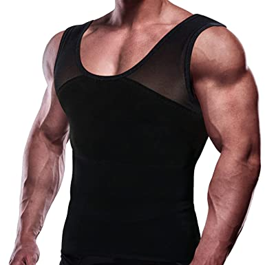 32b8beb0bb573d Image Unavailable. Image not available for. Color  GKVK Mens Slimming Body  Shaper Vest Chest Compression Shirt Abs Abdomen Slim Tank Top Undershirt