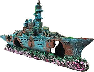 SLOCME Aquarium Shipwreck Decorations Fish Tank Ornaments - Resin Material Sunken Ship Decorations, Eco-Friendly for Freshwater Saltwater Aquarium Betta Fish Decorations