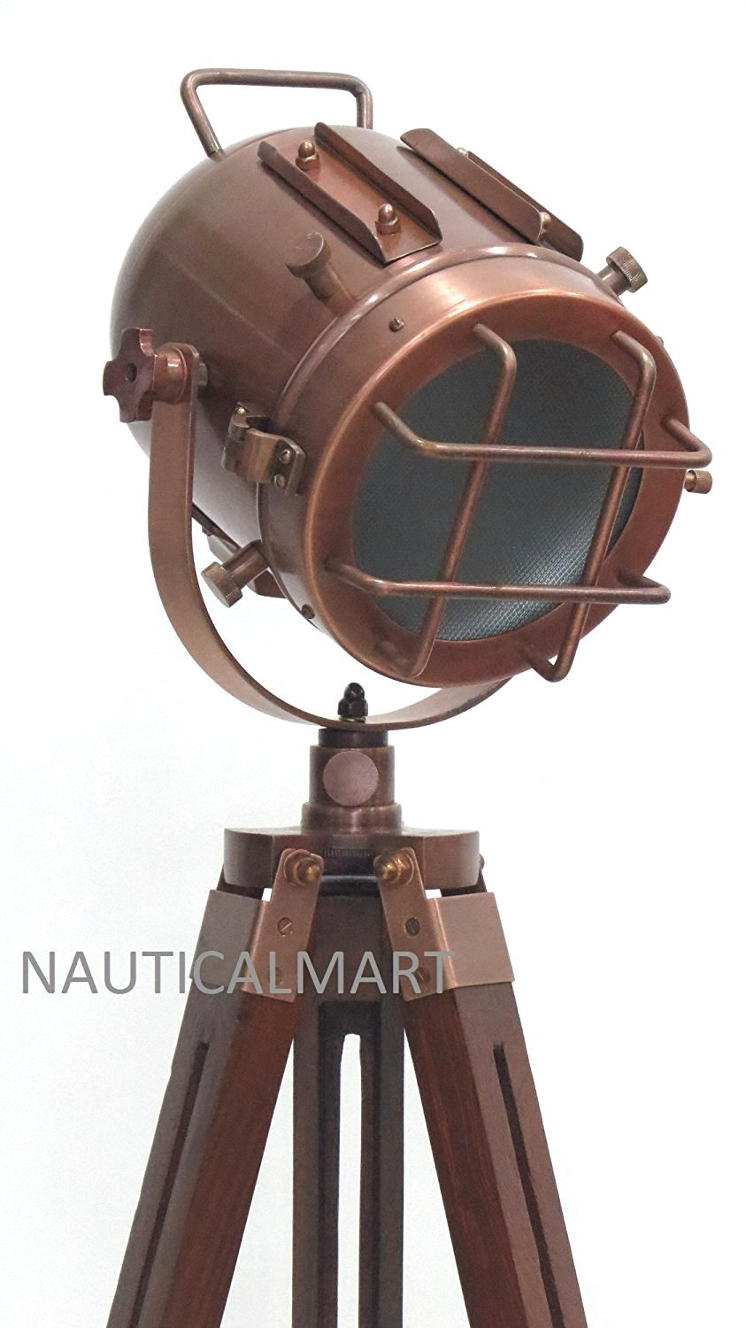Vintage Decorative Marine Nautical Search Light Wooden Tripod By Nauticalmart
