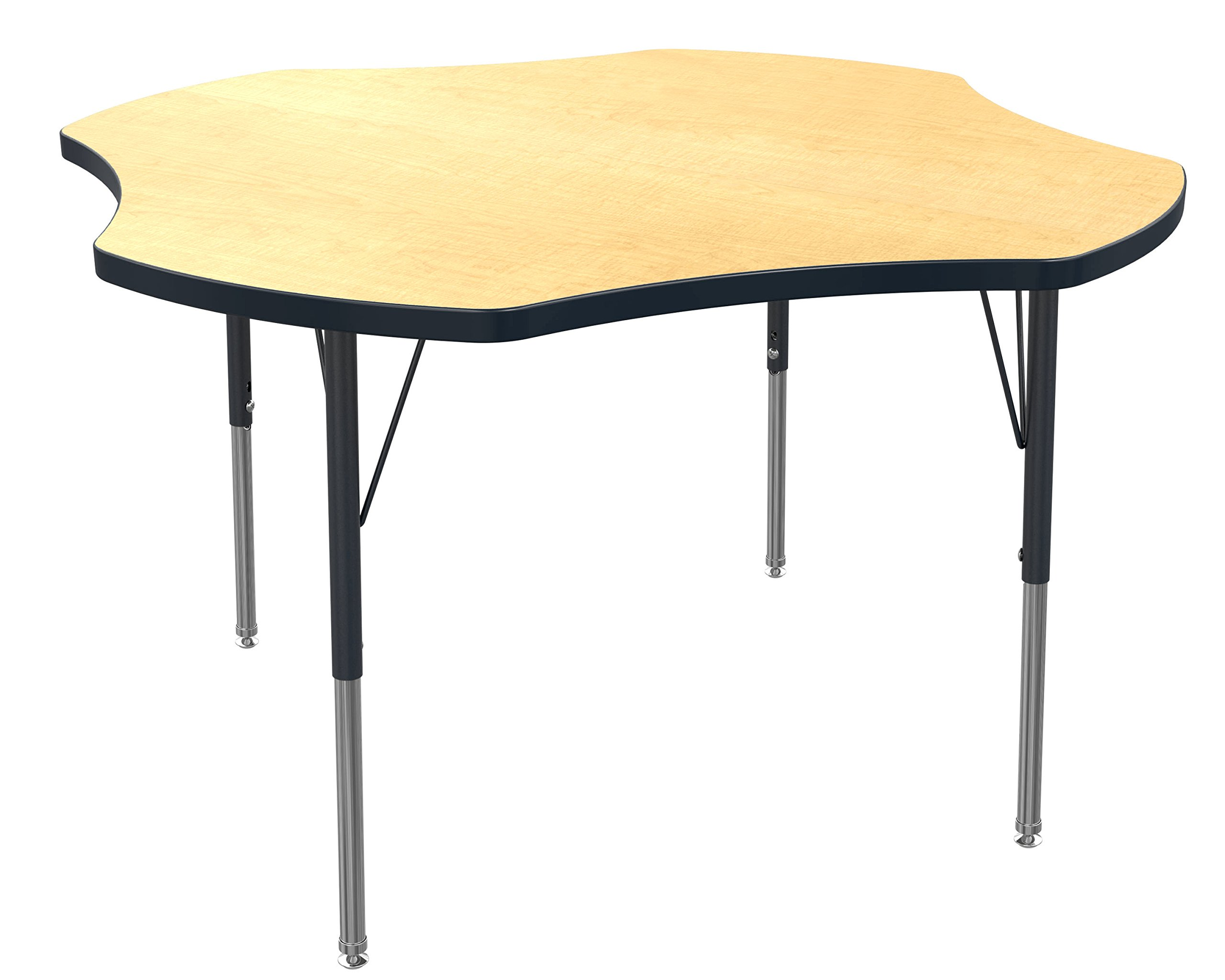 Marco Group    AMG2265-50-BBLK 48'' Clover Shaped Classroom Table  Adjustable Height (21''-30'') Standard Size Legs,  Fusion Maple-Top, Black-Edge by Marco Group