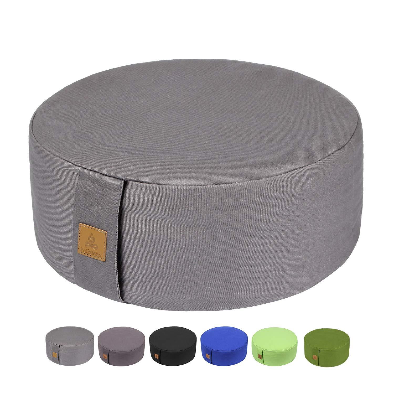 Zafu Buckwheat Meditation Cushion, Round zabuton Meditation Pillow, Yoga Bolster, Floor Pouf, Zippered Organic Cotton Cover, Machine Washable - 4 Colors and large small Sizes (Light Grey, 16''x16''x5'') by FelizMax