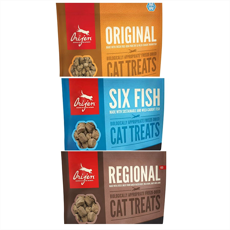 Orijen Cat Treat Three Flavor Combo. 1.25 Ounces Each. Original, 6 Fish, Regional Red