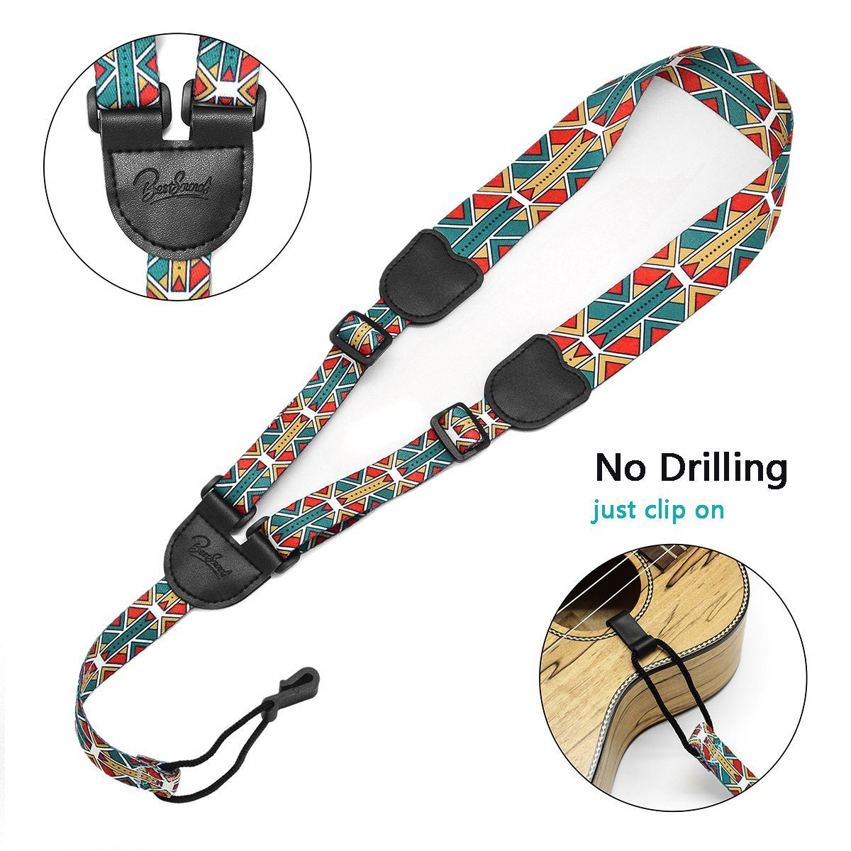 BestSounds Ukulele Strap No Drilling Printed Clip On Ukulele Strap Fits Any Ukulele Sizes (US- Orange) Rinastore US-10
