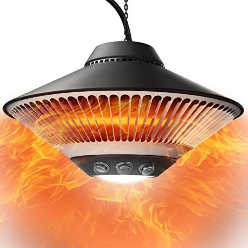 Infrared Patio Heater Electric Outdoor Indoor Garage 1500W Ceiling Space Radiant Instant Warm Backyard Heating Waterproof Courtyard Balcony Hanging Fast Heating Gazebo Porch Restaurant Black Ceiling-Mounted Outside Chain Quiet BBQ Party IP55