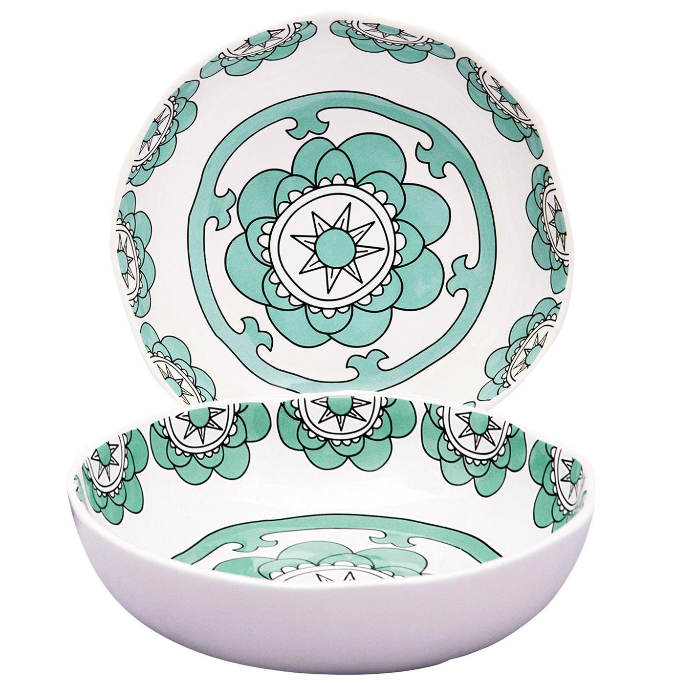Set 2 Soup Bowls Pasta Salad Plates, 37 Ounce Each, Hand Made Porcelain, Mint Blue, Large