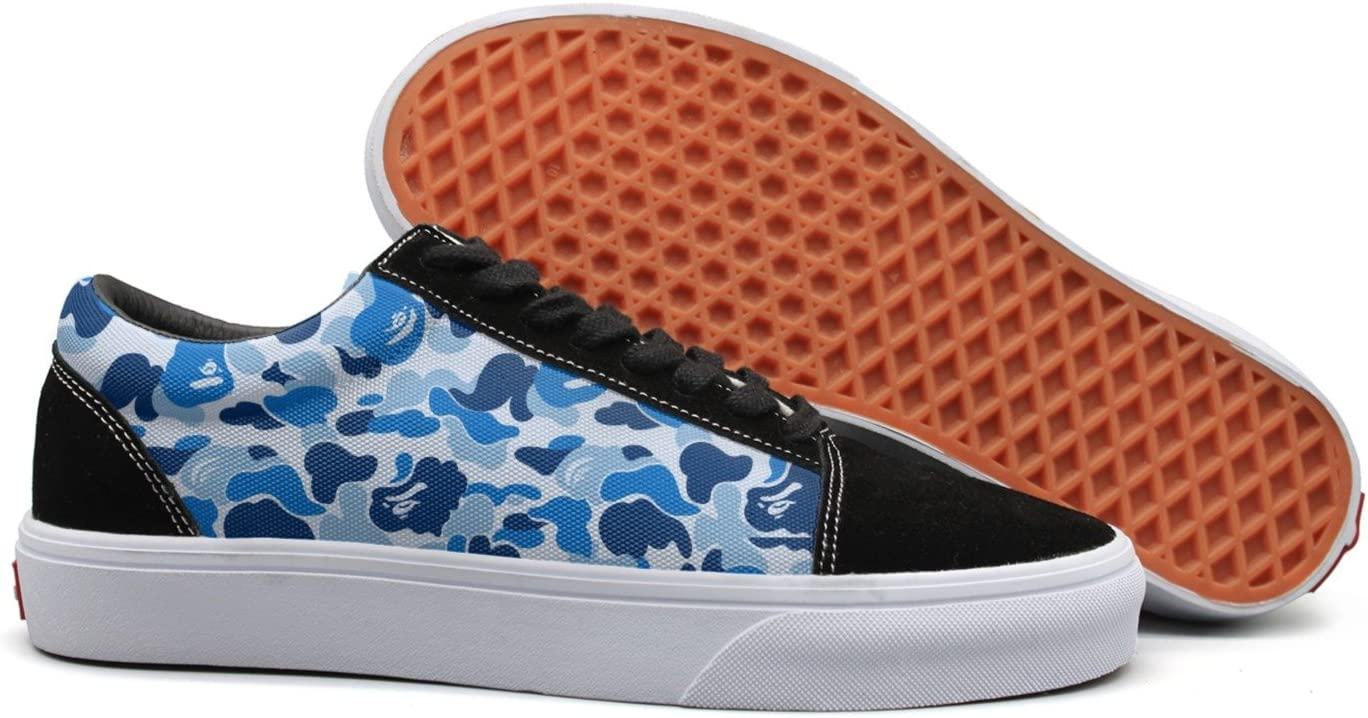 VCERTHDF Print Trendy Camouflage Blue Low Top Canvas Sneakers