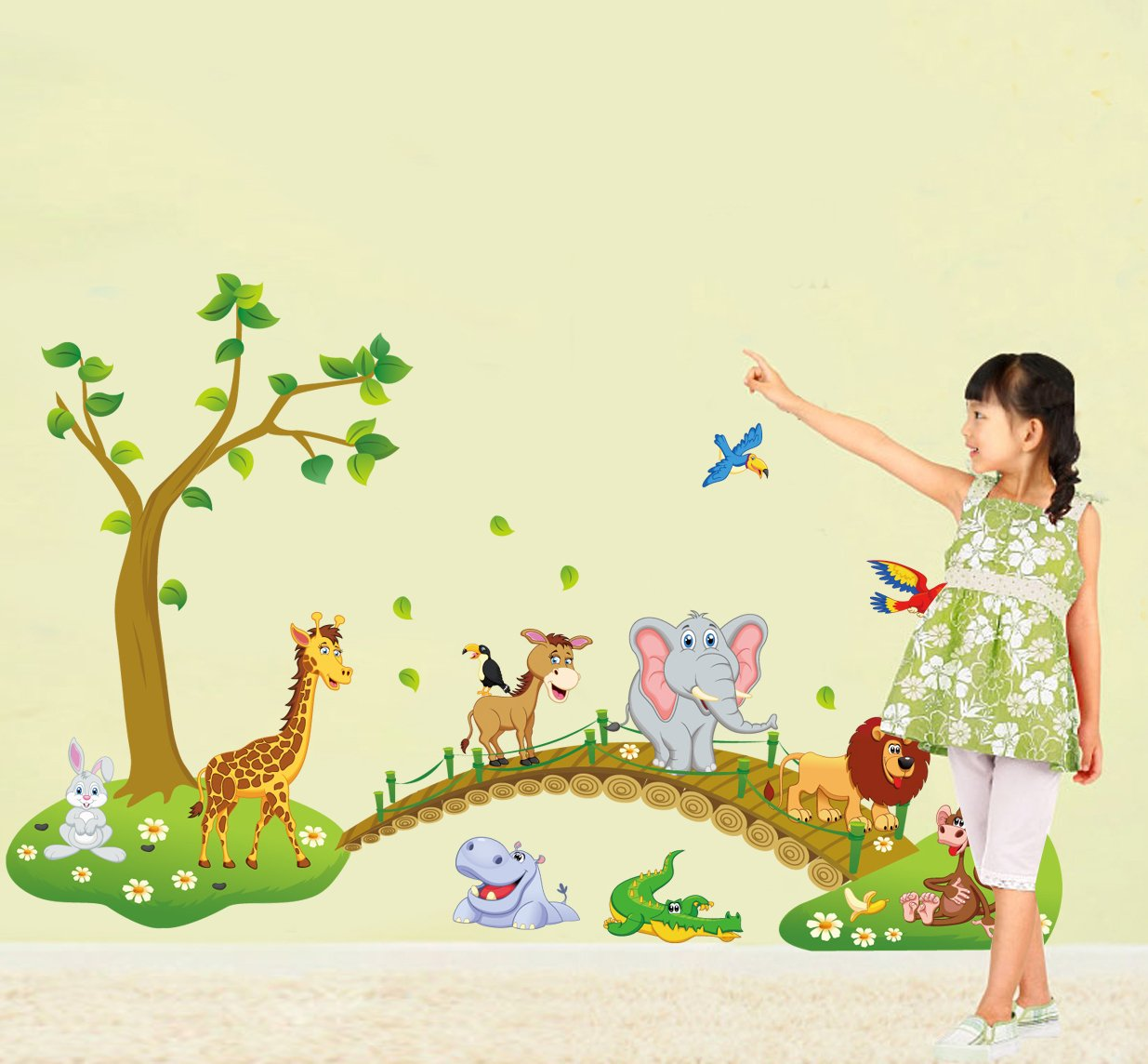 Lovely Animals Tree Bridge Wall Decal Home Sticker House Decoration WallPaper Removable Living Dinning Room Bedroom Kitchen Art Picture Murals DIY Stick Girls Boys kids Nursery Baby Playroom Decoration fashionbeautybuy1