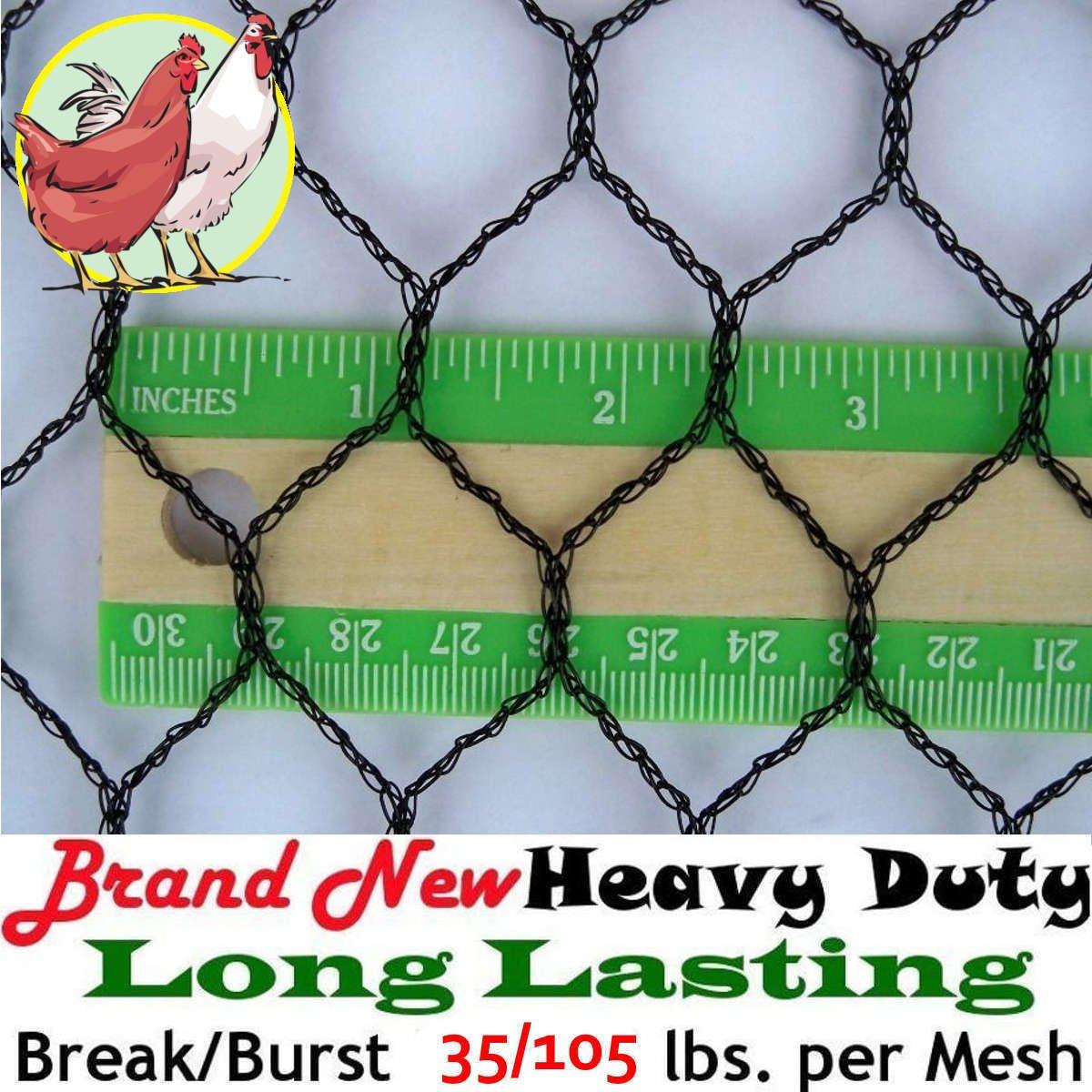 1'' Light Knitted Netting (12.5' X 200') Poultry Plant Bird Aviary Fruit Garden Protection Net Nets - Break/Burst: 35/105 lbs. per mesh by Pinnon Hatch Farms