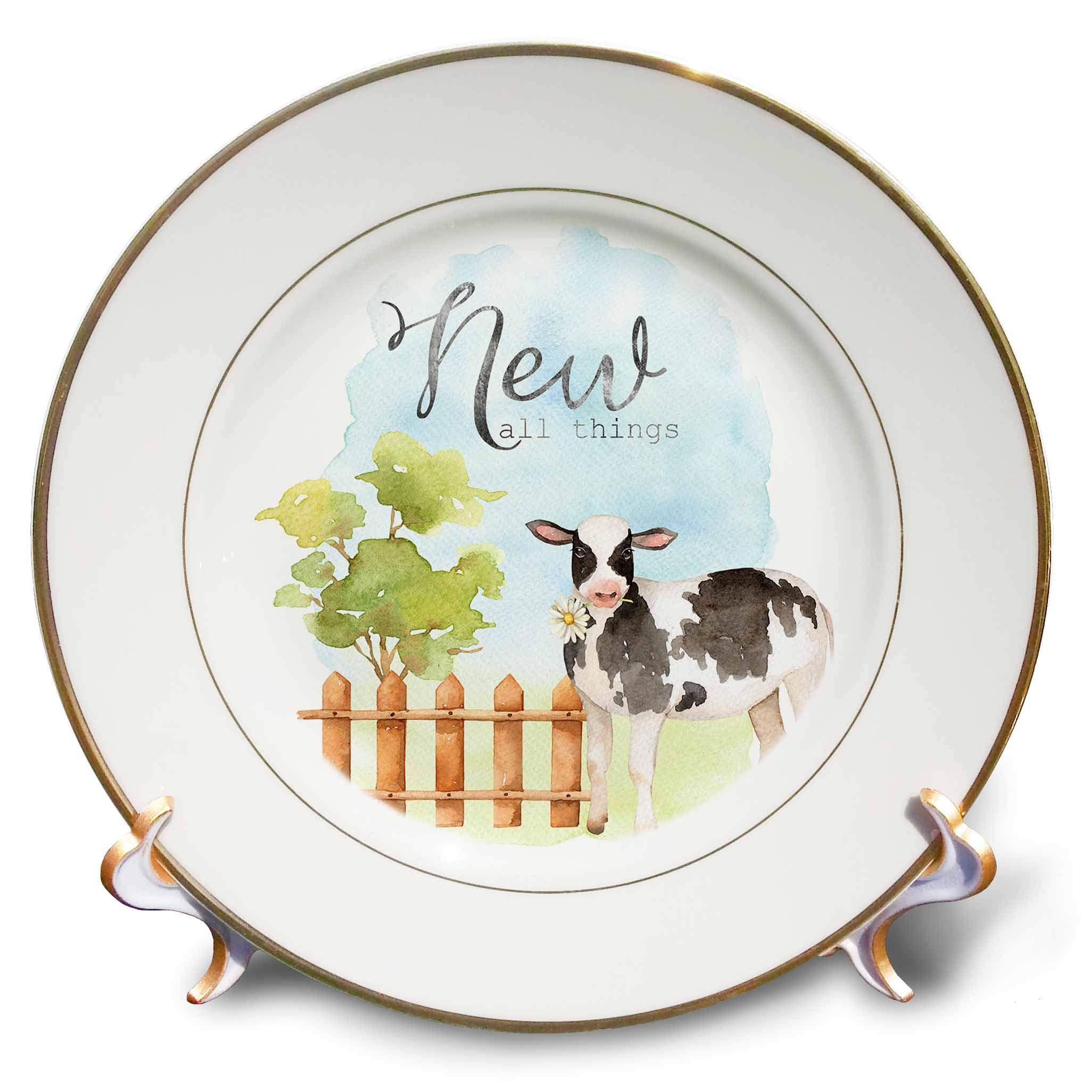 3dRose Uta Naumann Sayings and Typography - New All Things - Animal Cow Garden- Watercolor Illustration Typography - 8 inch Porcelain Plate (cp_292000_1)