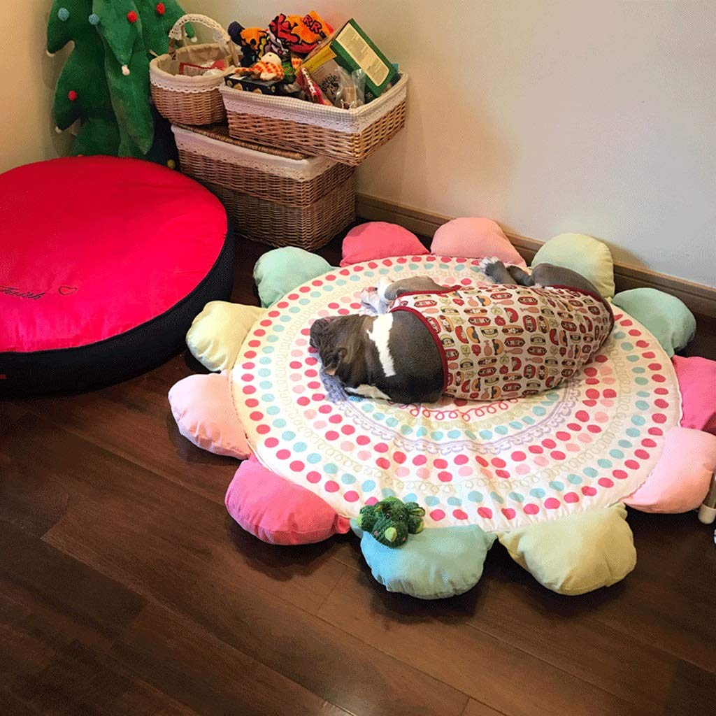 colord dots XL (diameter 118cm) colord dots XL (diameter 118cm) Pet Nest Sun Flower Round Mat Pet Cotton Pad Dog Cage Cat Sleeping Pad Four Seasons Bed Extra Large