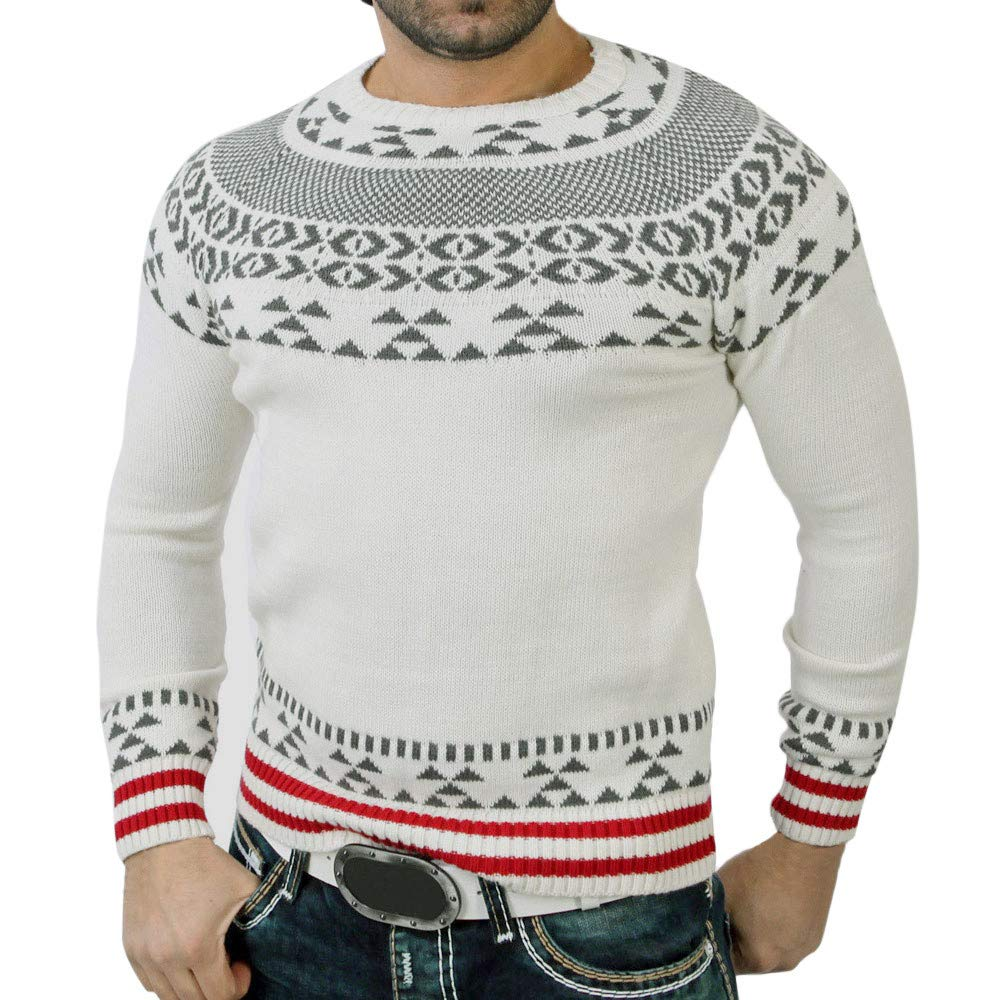 Realdo Clearance Sale Mens Sweater, Warm Pullover Print Knitted O-Neck Blouse Top