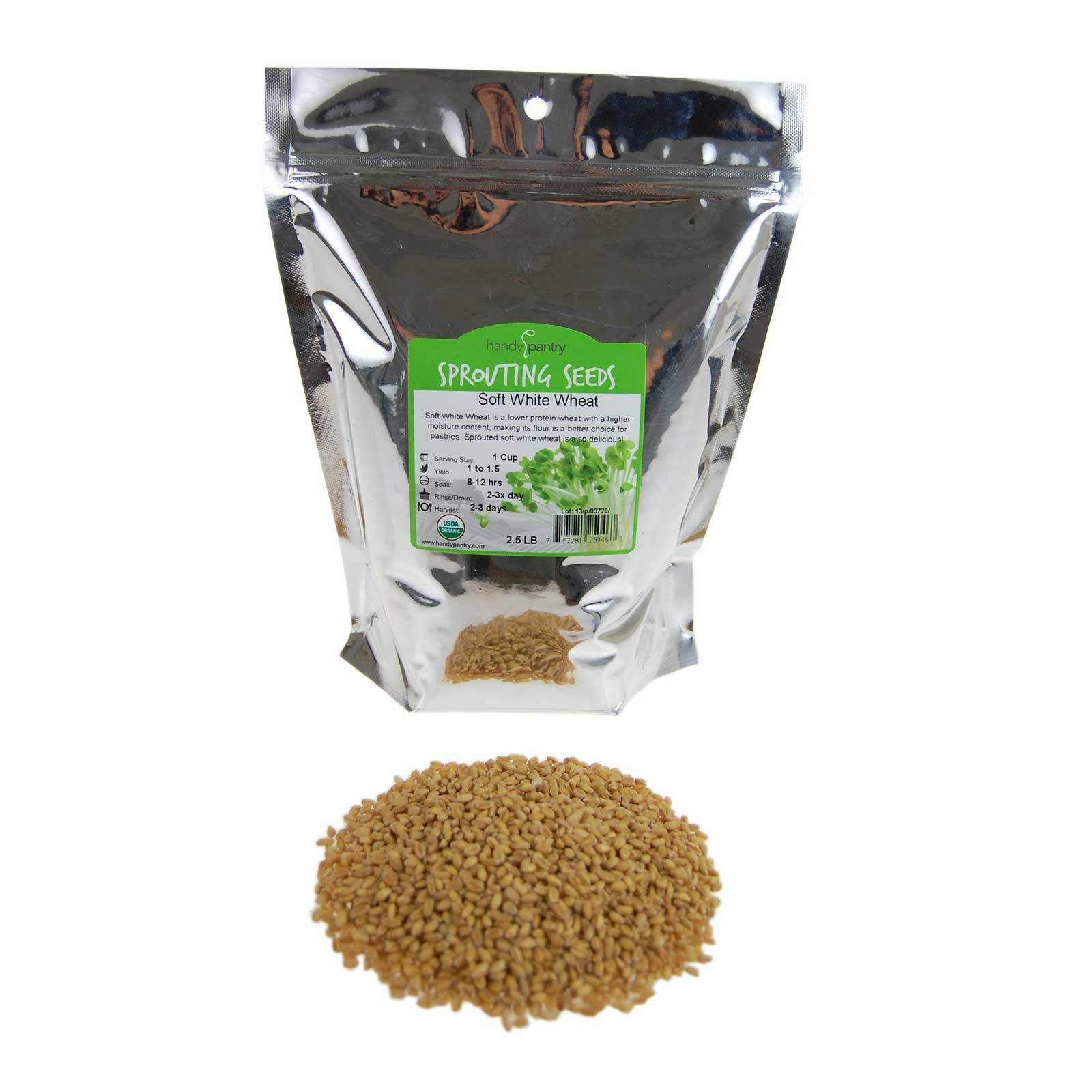 Soft White Wheat - Organic - 2.5 Lbs. Resealable Pouch - Handy Pantry Brand - Perfect for Food Storage, Flour, Baking, Sprouting & More