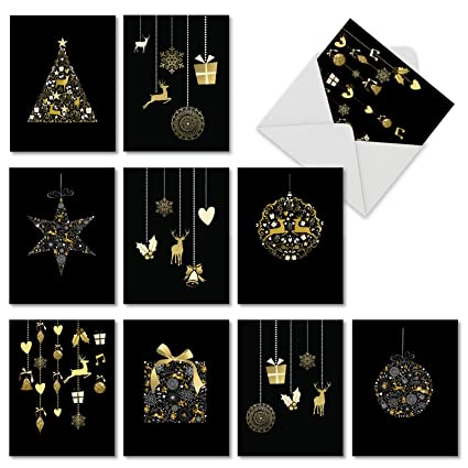 Christmas Notecards.10 Boxed Ornament Themed Christmas Cards W Envelopes 4 X 5 12 Inch Assorted Blank Golden Holiday Greeting Cards Beautiful Gold And Black Merry
