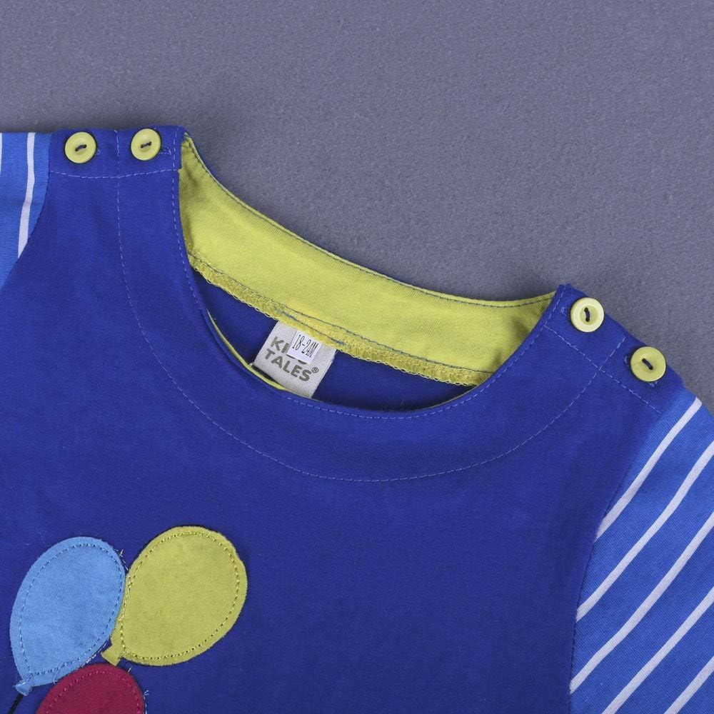 Vinjeely Baby Girls Clothes Summer Dress Cartoon Animals Nature Striped Short Sleeve Skirt