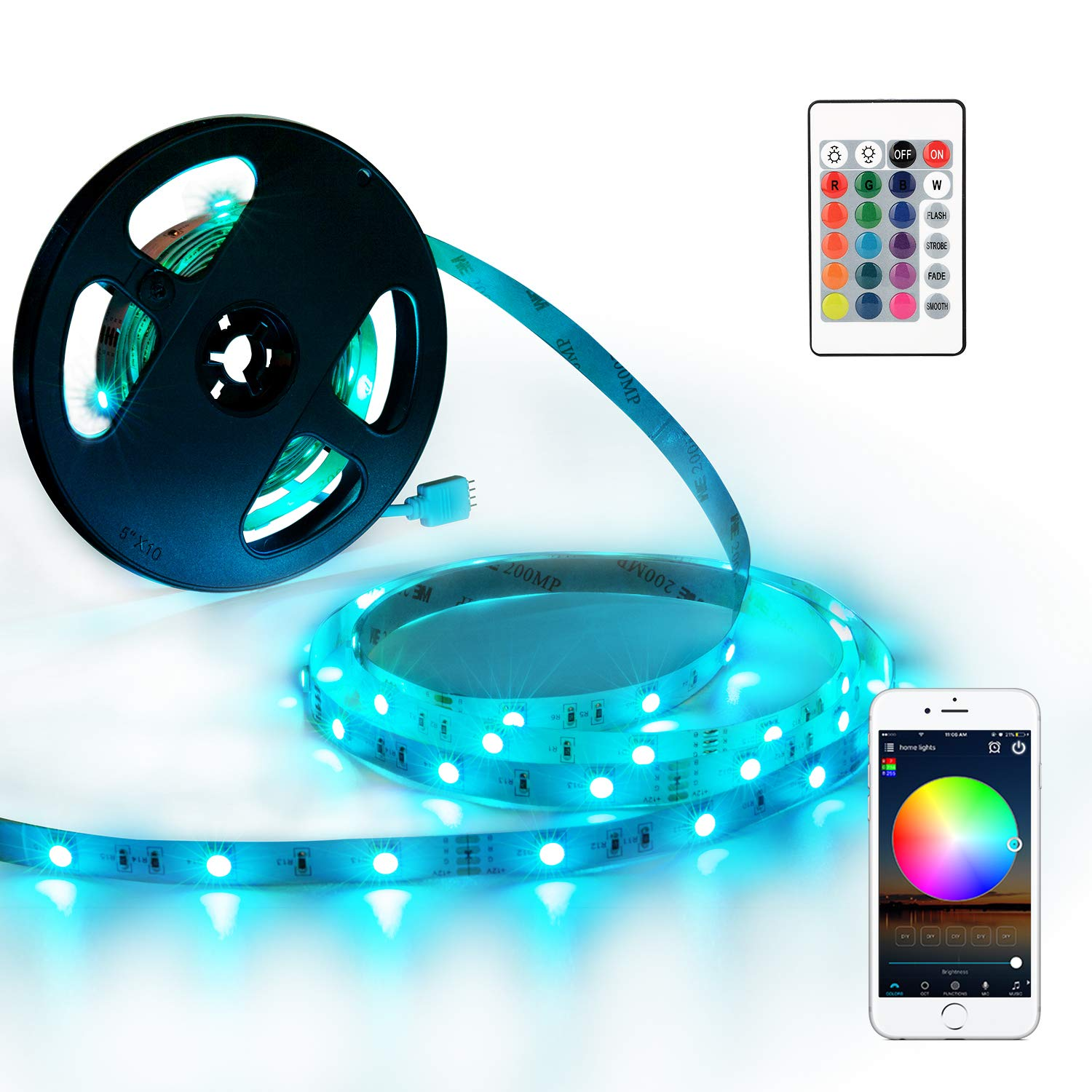 YIHONG LED Strip Lights Compatible with Alexa Google Home 33ft 300LEDs RGB Wifi LED Light Strip Non Waterproof LED Tape Ribbon