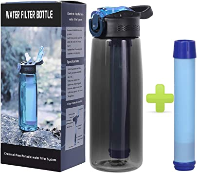 SGODDE Water Filter Bottles Camping Filtered Water Bottle Filter Straw BPA Free for Hiking Backpacking and Travel