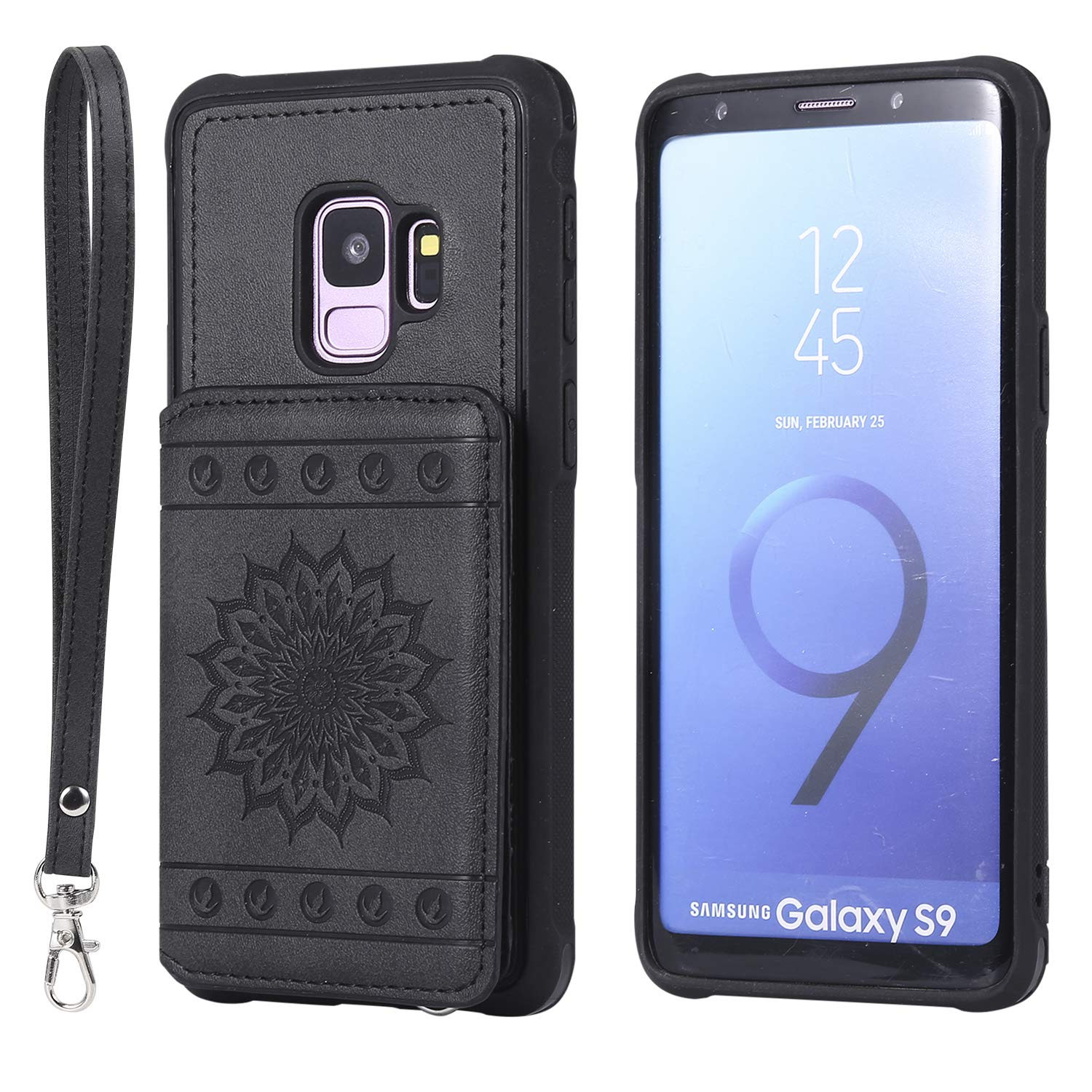 Galaxy S9 Case,DAMONDY Luxury Flower Sunflower Wallet Purse Card Holders Design Cover Soft Shockproof Bumper Flip Leather Kickstand Clasp Wrist Strap Case for Samsung Galaxy S9 2018-Black by DAMONDY