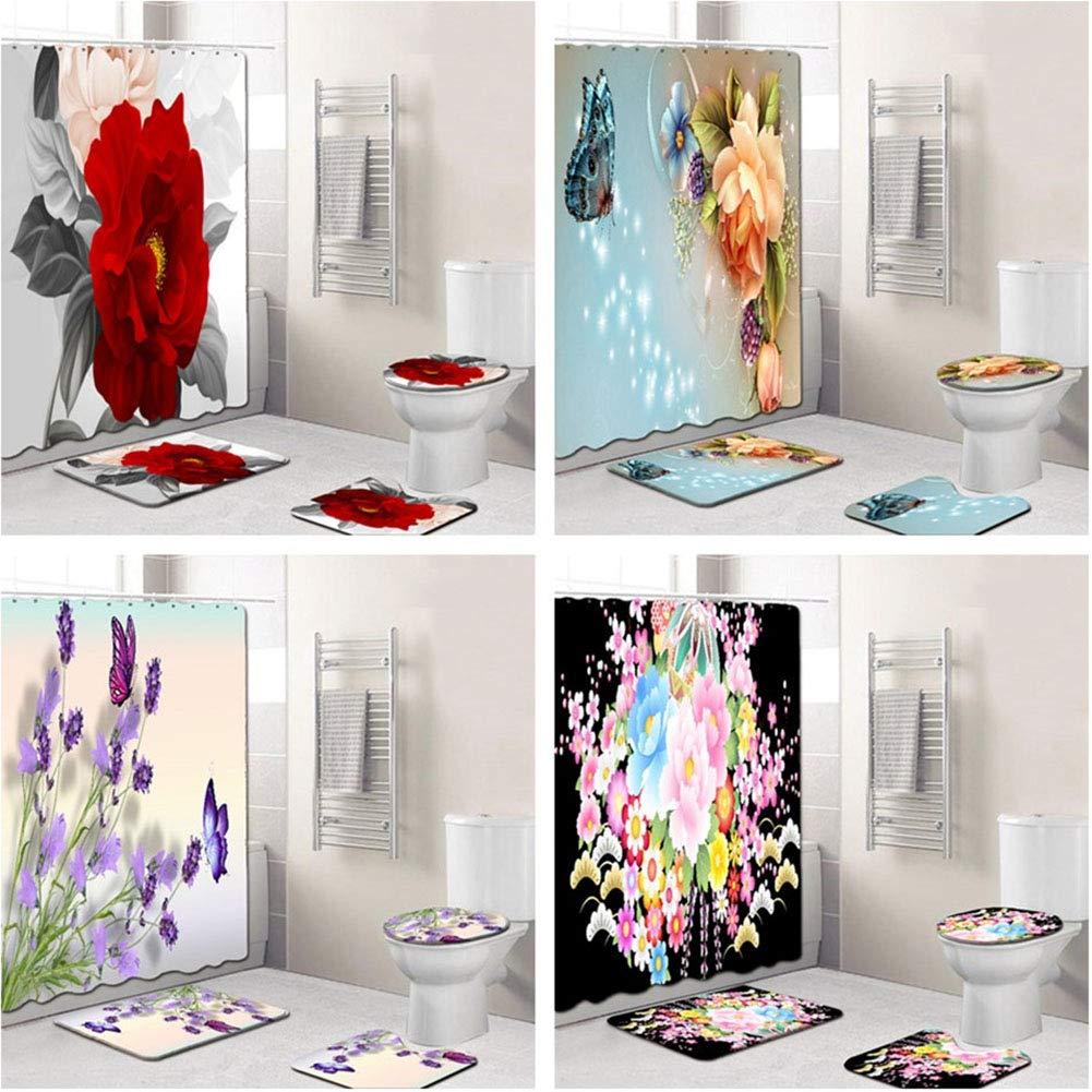 Yiwa Duschvorhangmatten-Set mit elegantem Blumenmuster 4-teilig Four-Piece Set B181214-a016