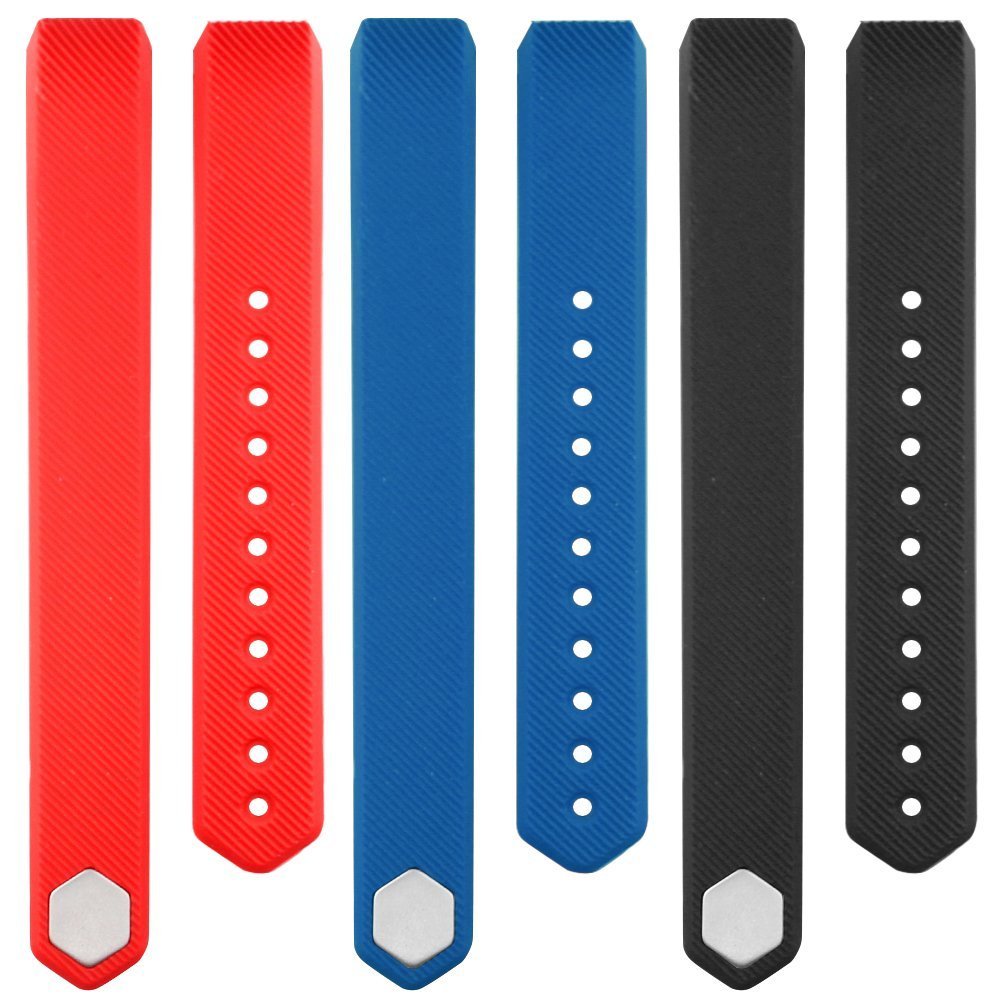 Band for Fitbit Alta, AFUNTA 3 Silicone Adjustable Replacement Sport Strap Band Bracelet Wristband with Metal Clasp Accessory for Fitbit Alta/ Alta HR Smart Fitness Tracker-Red, black, blue AF-3Altabands